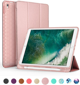 "SWEES Compatible iPad Air (3rd Gen) 10.5"" 2019 / iPad Pro 10.5 2017 Case, Slim Full Body Protective Smart Cover Leather Case Shockproof with Stand Built-in Apple Pencil Holder"