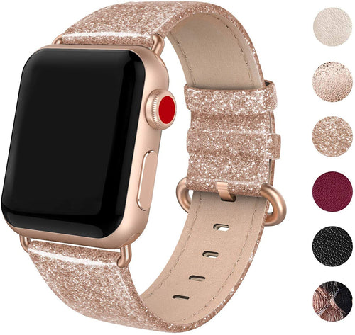 SWEES Leather Band Compatible for Apple Watch 38mm 40mm, Genuine Leather Shiny Bling Strap Compatible with iWatch Series 5/4/3/2/1 Women
