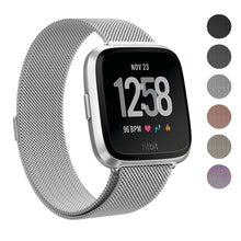 "Fitbit Versa Stainless Steel Magnetic Milanese Replacement Band   5.5"" – 7.5"""