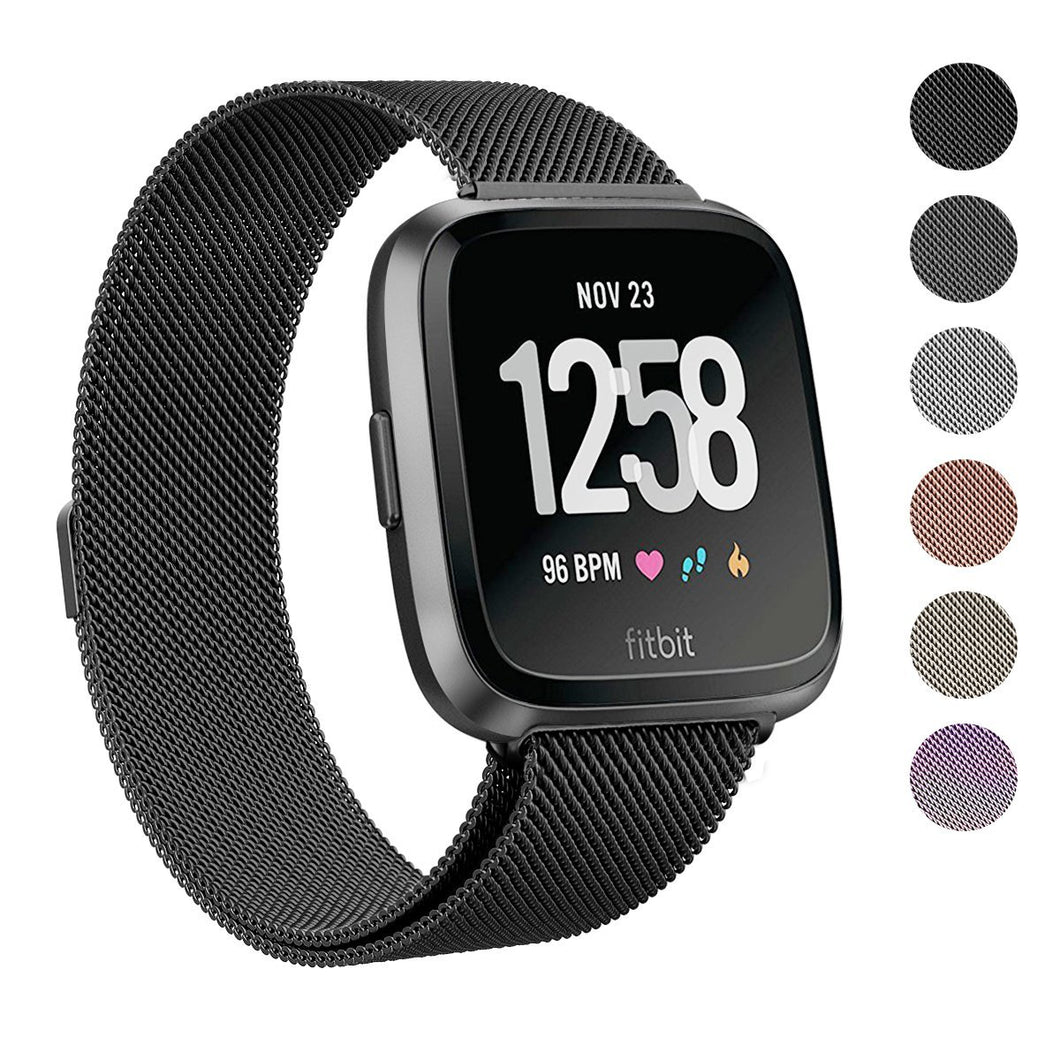 Fitbit Versa Stainless Steel Magnetic Milanese Replacement Band   5.5