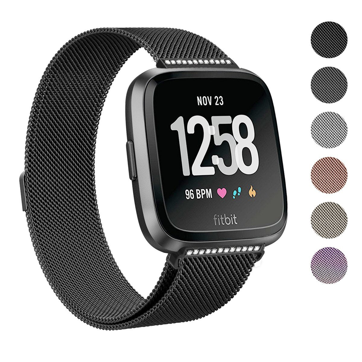 2018 New Fitbit Versa Stainless Steel Magnetic Milanese Replacement Alta Hr Smartwatch Small Black Band 55