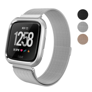 "SWEES Fitbit Versa Milanese Magnetic Band with Protective Bumper Case 5.5"" – 8.2"""