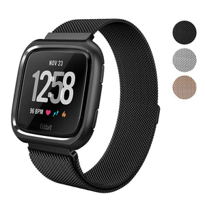 "SWEES Fitbit Versa Milanese Magnetic Band with Protective Bumper Case 5.7"" – 9.2"""