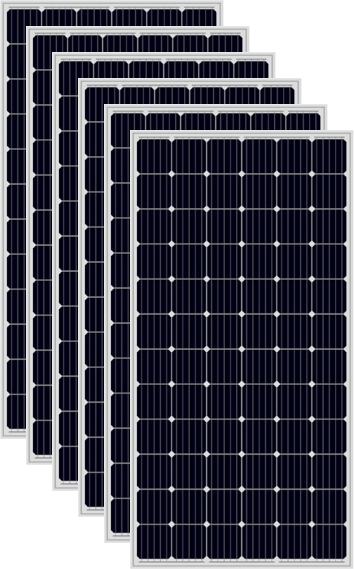 a close up of all the 6 black solar panels used in the Solar Pump Install