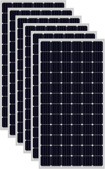 Load image into Gallery viewer, a close up of all the 6 black solar panels used in the Solar Pump Install