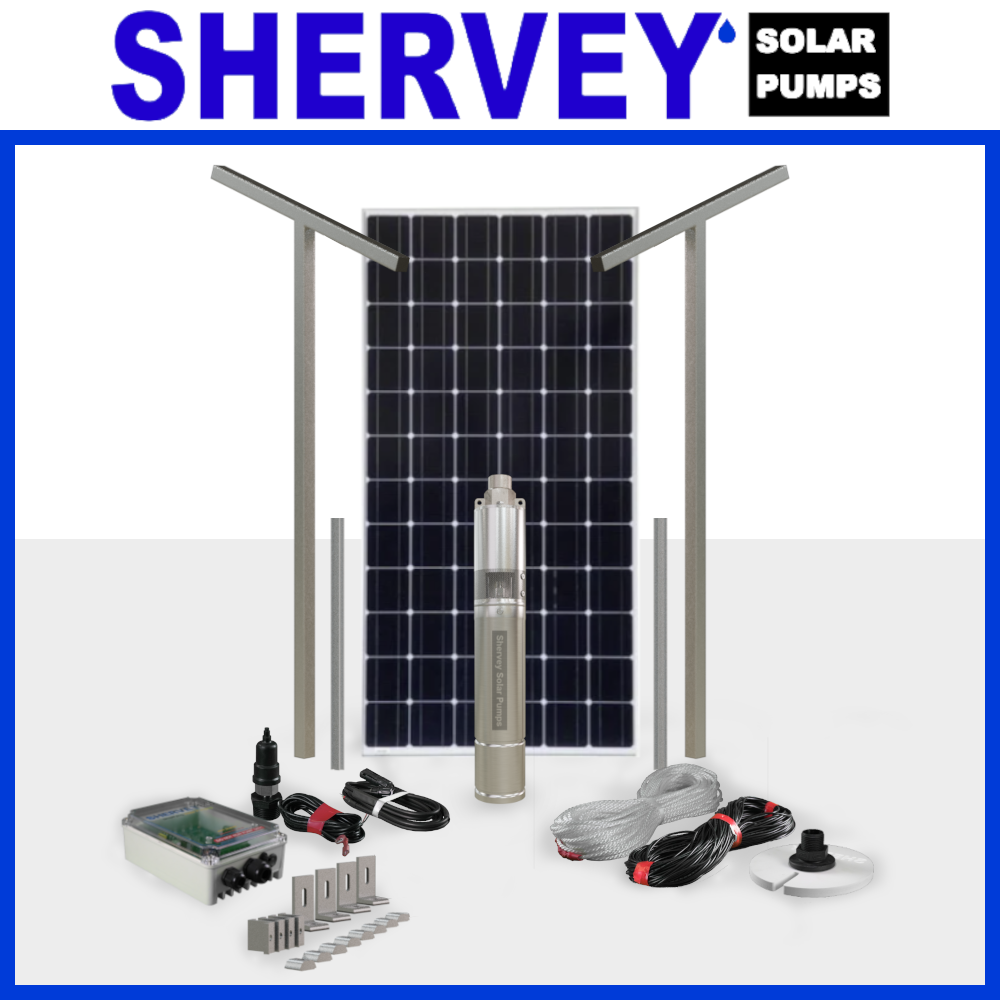 One solar panel lined behind a MK 2 Solar bore pump surrounded by all solar accessories that come with the bundle