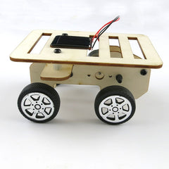 Mini Wooden Car Model Solar Powered Handmade Kit Smart Robot Car Chassis