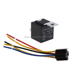 Waterproof Automotive Car Relay With Black Red Copper Terminal Auto Relay With Relay Socket