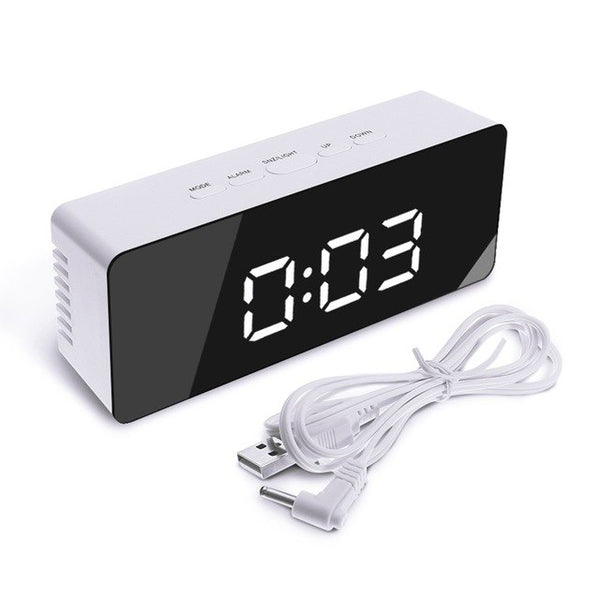 Wireless USB Mirror LED Digital Thermometer Night Mode for Black Alarm Clock