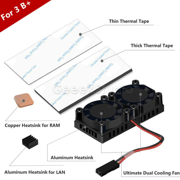Dual Fan Heatsink with Double Cooling Fans For Raspberry Pi 3 Model B Plus