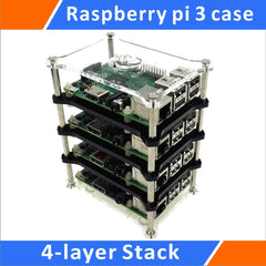 Raspberry Pi 3 Model B 4-layer Stack Clear Case