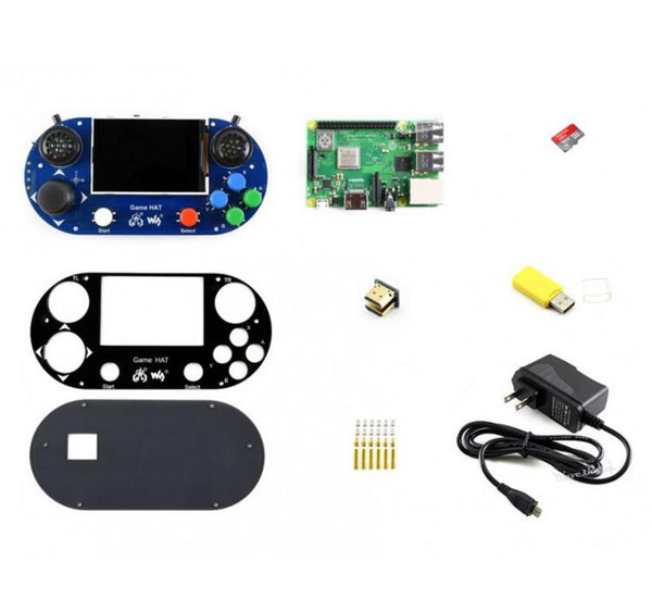 Raspberry Pi Game HAT, Micro SD Card, Power Adapter, etc.
