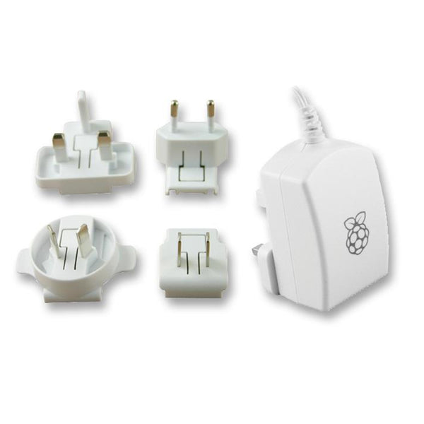 Micro USB, 2.5 Official Raspberry Pi 3 White Power Supply