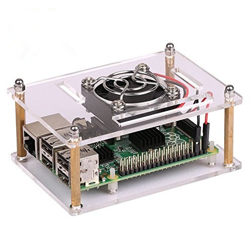 Acrylic Clear Case Enclosure Shell with Cooling Fan for Raspberry Pi 3 Model B