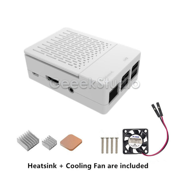 Black / White Case Cover Enclosure Box + Heat Sinks for Raspberry Pi 3 B+ / 3 B / 2 B