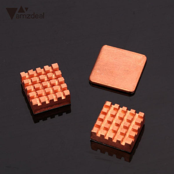 New 3PCS Pure Copper Slice Heat Sinks Cooling Kit For Raspberry PI 3 Model B