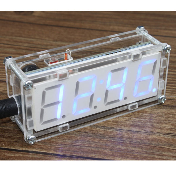 4-Digit DIY LED Electronic Clock Kit Microcontroller 0.8inch Digital Tube Clock with Thermometer Hourly Chime Function DIY Kit Module