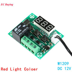 W1209 DC 12V Controller Sensor Heat Cool Temp Thermostat Temperature Control Switch Module DIY Electronic Kit Waterproof NTC Red