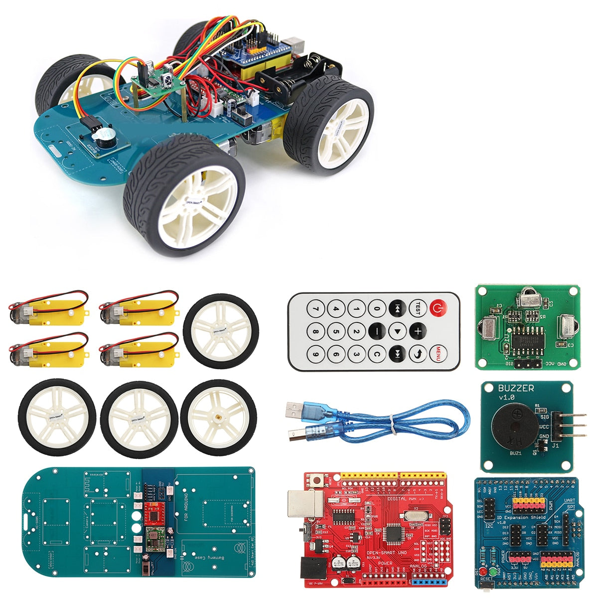 4WD Wireless IR Remote Control Smart Chassis Car Kit For Arduino For  ATmega328P For UNO-R3