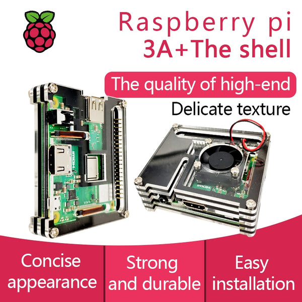 Raspberry Pi 3 Model A+ Acrylic Case With Fan Pi 3A+ Shell