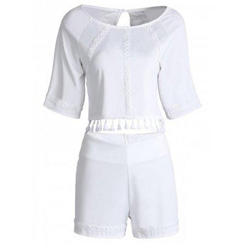 Stylish Round Neck Short Sleeves Hollow Out Fringe Backless Blouse and Shorts Suit For Women - White S - Rich In Apparel