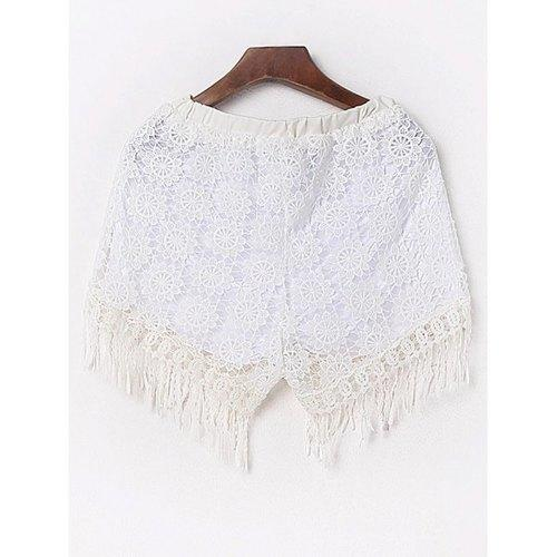 Sexy Fringed Flowy Lace Shorts - White M - Rich In Apparel