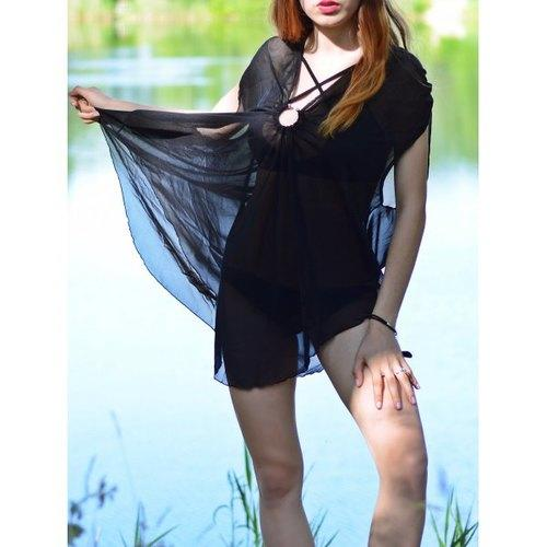 Asymmetric See Thru Swing Tunic Cover Up - Black M - Rich In Apparel