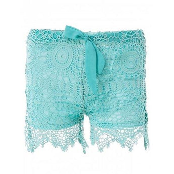 Sweet Lace-Up Light Green Lace Shorts For Women - Light Green S - Rich In Apparel