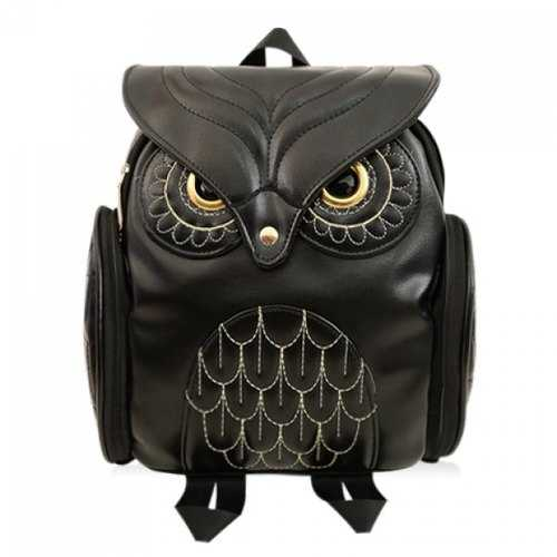 Preppy Owl Pattern and Stitching Design Women's Satchel - Black - Rich In Apparel