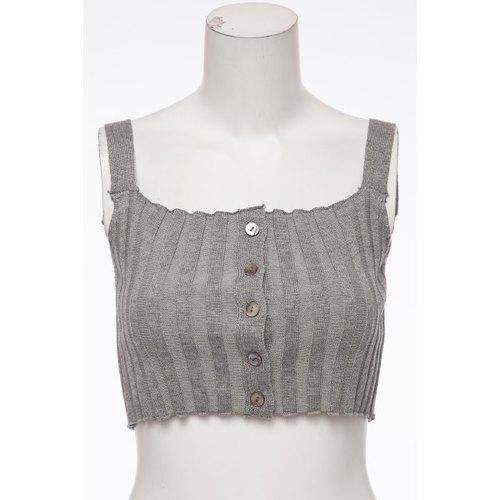 Sexy U Neck Solid Color Buttoned Crop Top For Women - Gray One Size(fit Size Xs To M) - Rich In Apparel