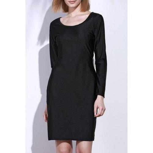Plain Bodycon Dress with Sleeves - Black S