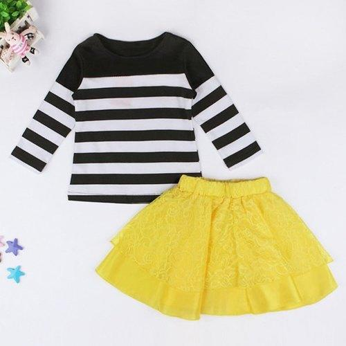 Cute Long Sleeve Round Neck Striped T-Shirt + Yellow Lace Skirt Girl's Twinset - Yellow 110 - Rich In Apparel