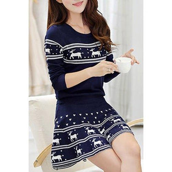 Stylish Scoop Neck Elk Printed Pullover Christmas Sweater and Pleated Mini Skirt Twinset For Women - Deep Blue One Size(fit Size Xs To M) - Rich In Apparel