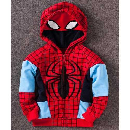 Fashionable Spider-Man Pattern Checked Long Sleeve Boy's Zip Up Hoodie - Red 120 - Rich In Apparel