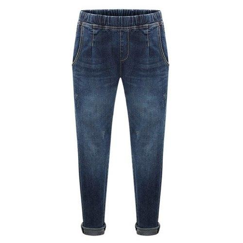 Casual Elastic Waist Zipper Design Bleach Wash Jeans For Women - Deep Blue 3xl - Rich In Apparel