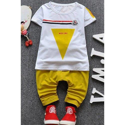 Casual Short Sleeve Triangle Print T-Shirt + Pants Boy's Twinset - Yellow 85 - Rich In Apparel