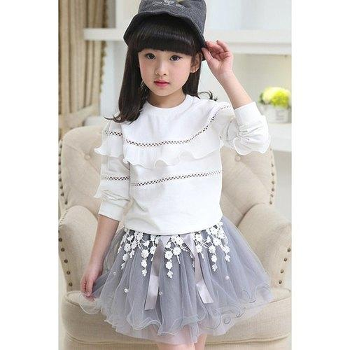 Stylish Long Sleeve Ruffled Top + Mesh Skirt Girl's Twinset - White 140 - Rich In Apparel