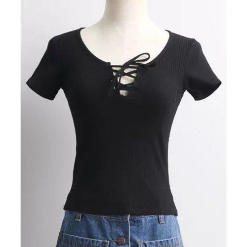 Brief Round Neck Short Sleeve Solid Color Lace-Up Crop Top For Women - Black M - Rich In Apparel