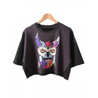 Chic Women's Bat Sleeve Owl Print Crop Top - Black One Size(fit Size Xs To M) - Rich In Apparel