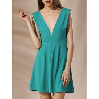 Low Cut Backless Mini A Line Dress - Green L - Rich In Apparel