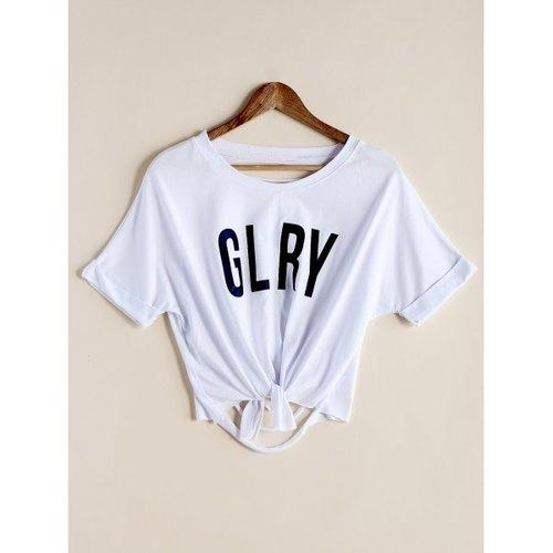 Stylish Scoop Neck Letter Print Ripped Crop Top For Women - White One Size(fit Size Xs To M) - Rich In Apparel