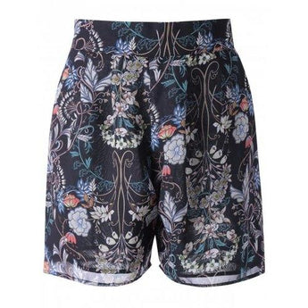 High Waisted Floral Knee Length Shorts - Black S - Rich In Apparel