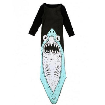 Cute Long Sleeve Shark Pattern Girl's Baby Romper - Black One Size(fit Size Xs To M) - Rich In Apparel