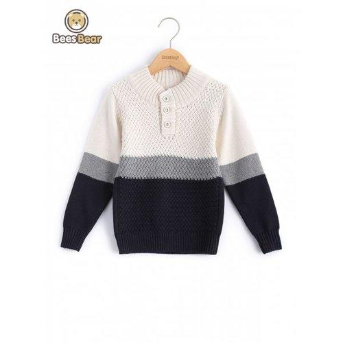 Color Block Buttoned Pullover Sweater - Off-white Child-6 - Rich In Apparel