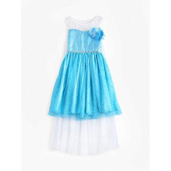 Spliced Sleeveless Sequin Embellished Princess Dress - Blue 120 - Rich In Apparel