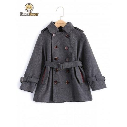 Stylish Solid Color Double-Breasted Wool Coat For Boy - Gray Child-5 - Rich In Apparel
