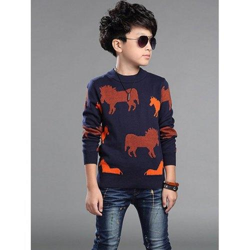 Horses Printed Sweater For Boy - Red 130 - Rich In Apparel
