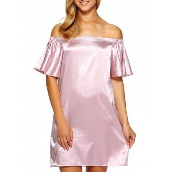 Off Shoulder Flounce Mini Satin Cocktail Dress - Pink Xl - Rich In Apparel