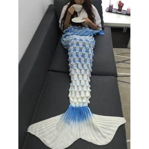 Creative Openwork Design Ombre Color Knitted Mermaid Blanket - Rich In Apparel