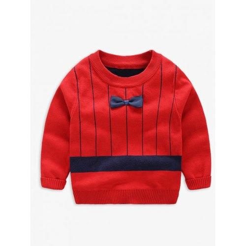 Stripe Bow Pullover Seatshirt - Red 140 - Rich In Apparel